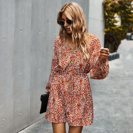 Ropa de moda otoño nuevo sexy vestido estampado con cuello en V para mujer NHKA255527's discount tags