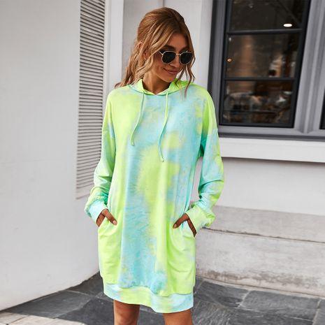 Moda otoño nuevo vestido suelto casual con capucha tie-dye para mujer NHKA255530's discount tags