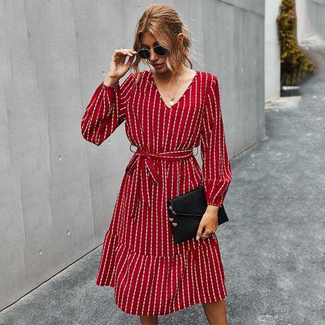Moda otoño nuevo vestido a rayas simple para mujer venta al por mayor caliente NHKA255531's discount tags