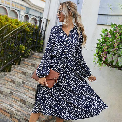 Moda otoño nuevo vestido estampado simple de manga larga para mujer NHKA255533's discount tags