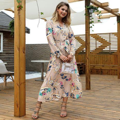 Vestido largo con cinturón de manga larga y cuello en V estampado estilo de vacaciones para mujer NHKA255534's discount tags