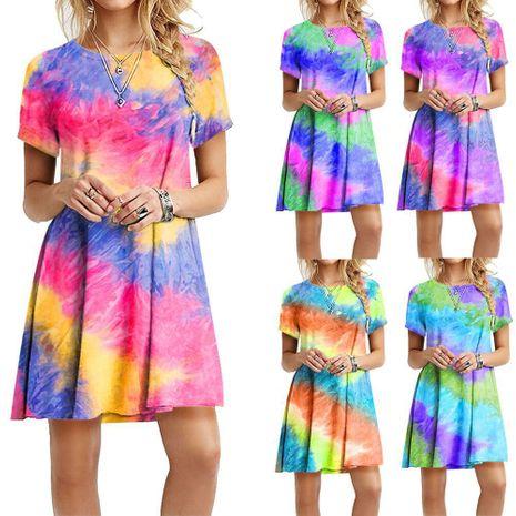 nueva moda a través del vestido con estampado de teñido anudado del arco iris delgado y colorido al por mayor NHYF255611's discount tags