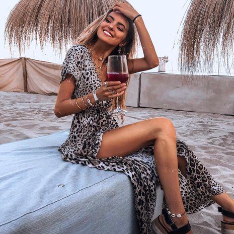 Vestido de falda de playa irregular con cuello en V y manga corta con estampado de leopardo de nueva moda sexy para mujer NHYF255615's discount tags