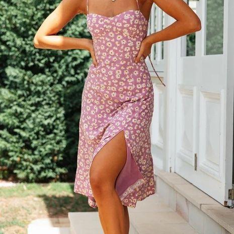 Vestido retro de la correa del pecho de la abertura lateral atractiva de la impresión retro de las nuevas mujeres al por mayor NHAM255629's discount tags