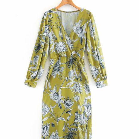 wholesale vestido con cuello en V estampado de moda para mujer nueva en caliente NHAM255633's discount tags