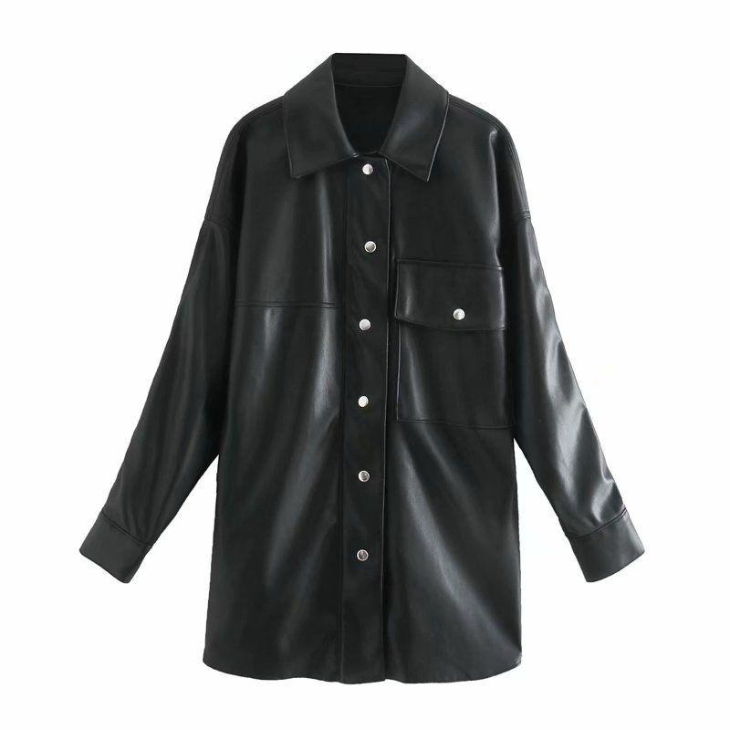 wholesale autumn new fashion loose lapel long sleeve pocket leather shirt jacket for women NHAM255639