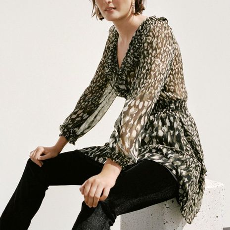 wholesale nuevo vestido de manga larga con cuello en v y estampado animal de otoño NHAM255645's discount tags