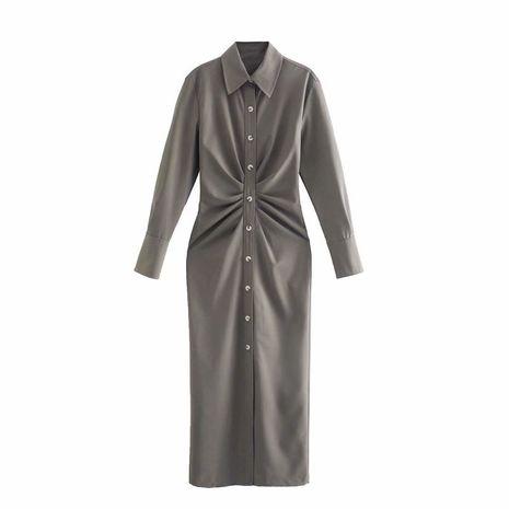 wholesale Vestido de manga larga con solapa plisada estilo camisa decorativa plisada para mujer nueva NHAM255661's discount tags