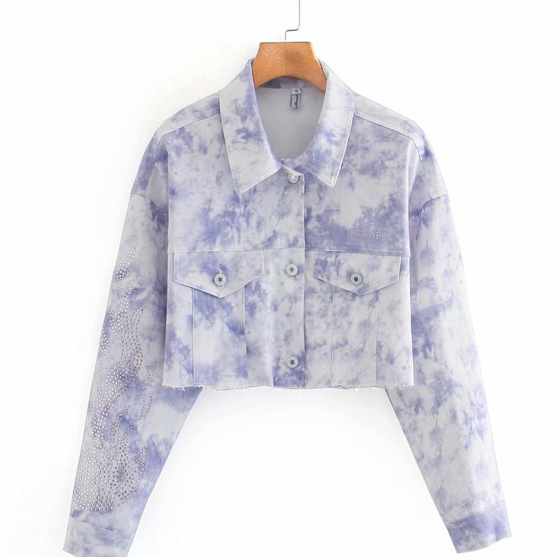 wholesale fashion new autumn tiedye short womens denim jacket  NHAM255682