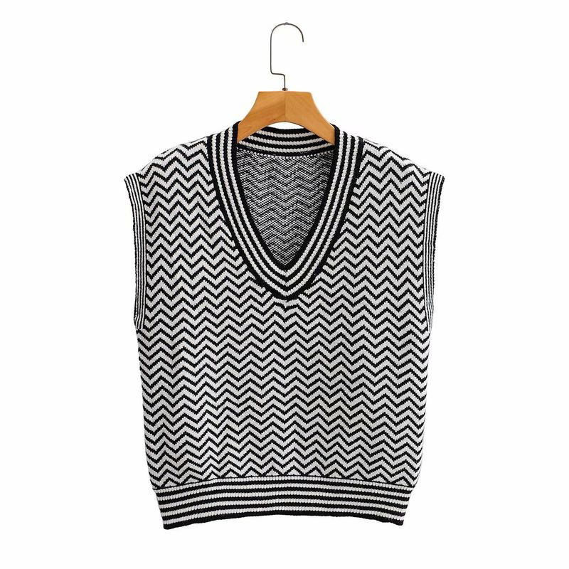 Fashion V-neck knitted vest women loose sleeveless printed waistcoat sweater wholesale NHAM255686