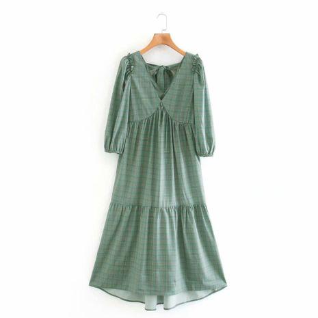 wholesale nuevo vestido de manga de linterna con volantes con cuello en V de otoño para mujer NHAM255695's discount tags