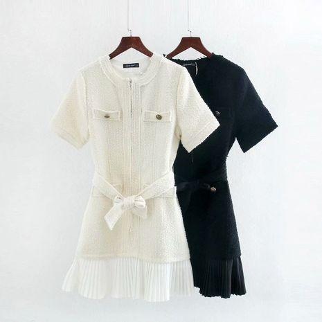 Vestido de manga corta de encaje plisado con costura de paño de lana de otoño nuevo al por mayor NHAM255705's discount tags