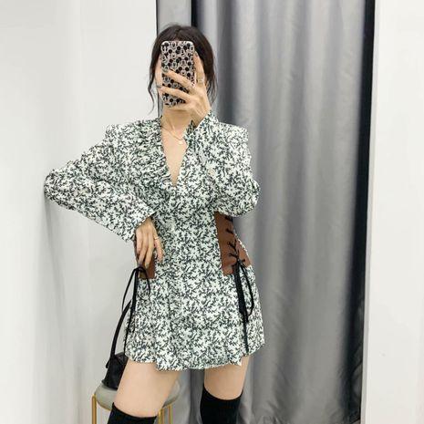 Nuevo vestido de adelgazamiento con estampado de cuero de cintura de otoño al por mayor para mujer NHAM255711's discount tags