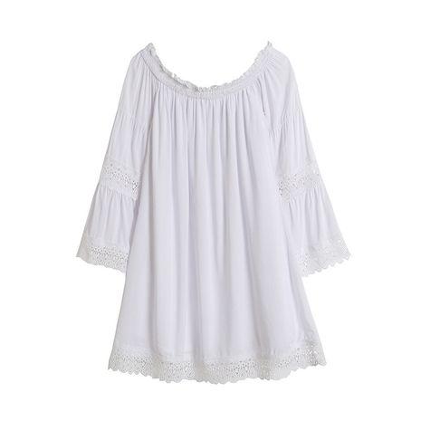 Vestido de cuello de una palabra de manga ancha de encaje hueco blanco largo al por mayor nuevo NHAM255712's discount tags