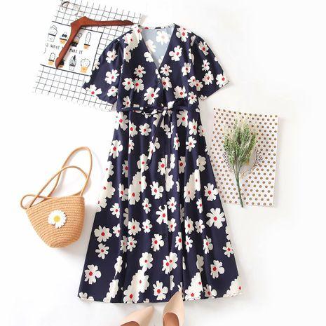wholesale nuevo vestido cruzado con estampado de sarga retro de otoño para mujer. NHAM255720's discount tags