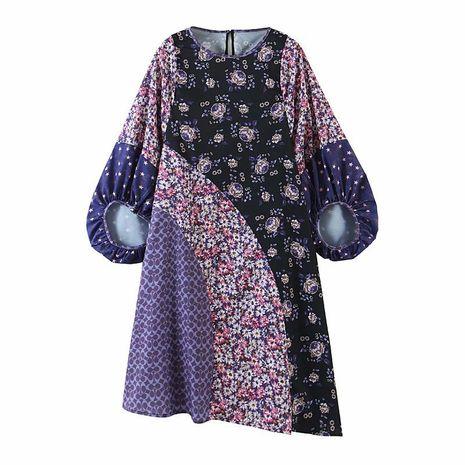 Vestido de talla grande con estampado de manga de linterna con estampado de nicho retro de otoño nuevo al por mayor NHAM255723's discount tags