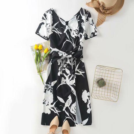 wholesale vestido de abrigo con cuello en V de cintura de otoño nuevo de moda NHAM255724's discount tags