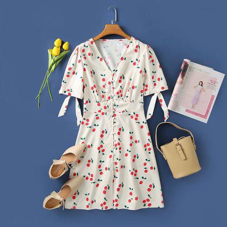 wholesale vestido con estampado de cereza con cuello en V de otoño de nueva moda para mujer NHAM255725's discount tags