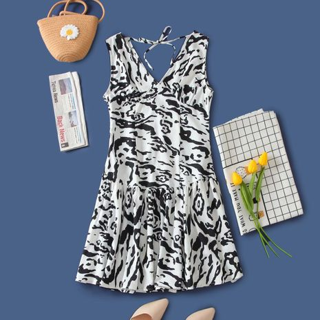 wholesale mini vestido de chaleco de seda tejida con estampado de leopardo de otoño de moda NHAM255726's discount tags