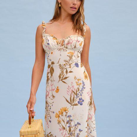 wholesale otoño nuevo vestido de liga de oreja de madera sexy con estampado retro NHAM255728's discount tags