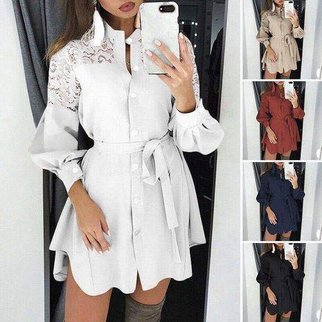 Falda de camisa de tiras con costura de encaje con cuello en V de nueva moda para mujer NHYF255729's discount tags