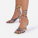 Modische neue Damenschuhe Stiletto HighHeel Square Toe Bunte Riemchensandalen mit Schlangenmuster NHSO255739