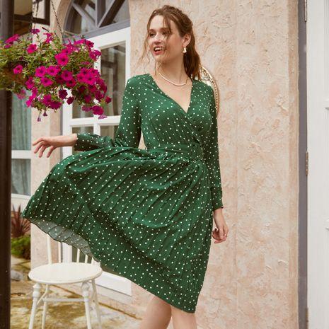 vestido de mujer de moda al por mayor vestido de manga larga con cuello en V profundo NHDE255815's discount tags