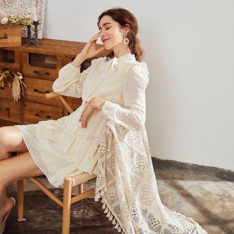 Vestido de mujer de encaje blanco de moda al por mayor NHDE255819's discount tags
