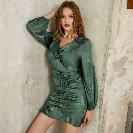 Forme a nuevo el vestido verde de las mujeres retro simples del todo-fósforo al por mayor NHDE255830's discount tags