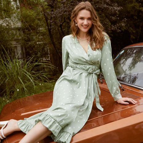 Venta al por mayor caliente de la venta del vestido de las mujeres verdes de manga larga casual cómoda delgada de la moda NHDE255849's discount tags