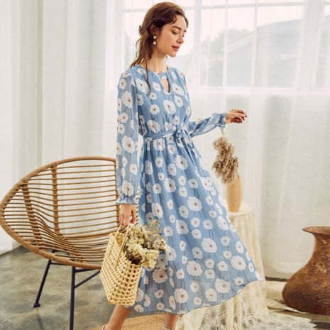 vestido azul de las mujeres ocasionales cómodas del algodón delgado lindo caliente-saling NHDE255855's discount tags