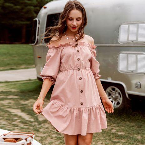 vestido de mujer de manga corta casual cómodo rosa delgado de la venta caliente NHDE255862's discount tags