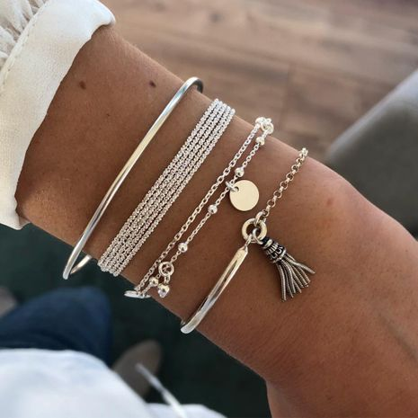 Simple Silver Glossy Tassel Bracelet  Personality Multilayer Chain Disc  Bracelet Set  NHBQ255882's discount tags