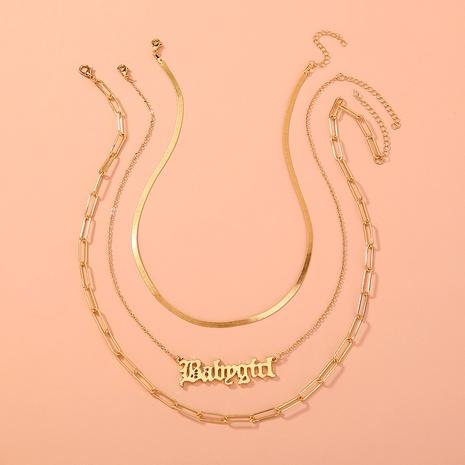 collier lettre gothique en métal multicouche NHAN306001's discount tags