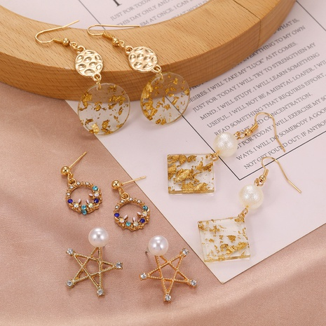 simple gold foil acrylic earrings NHPF306015's discount tags