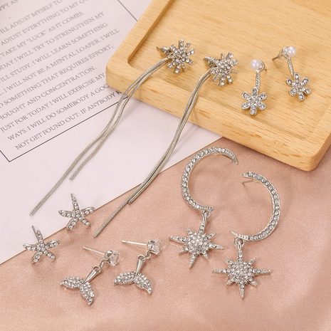 Korean simple fashion trend moon eight-pointed star earrings NHPF306018's discount tags