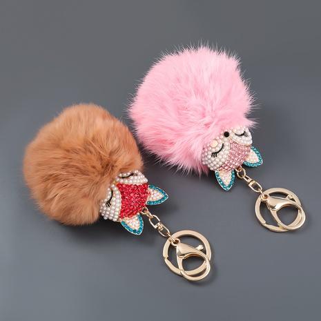 alloy diamond inlaid pearl fox fur ball keychain NHJE306021's discount tags
