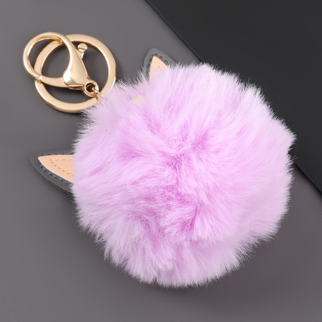 artificial leather cat ears hair ball keychain  NHJE306023's discount tags