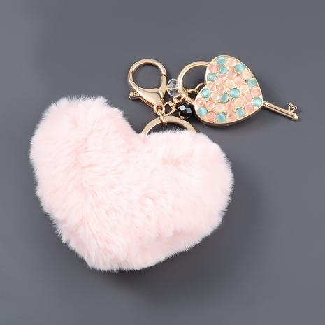 alloy diamond heart lock hair ball keychain  NHJE306024's discount tags