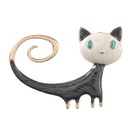 alloy oil drop diamond black cat brooch  NHJE306041
