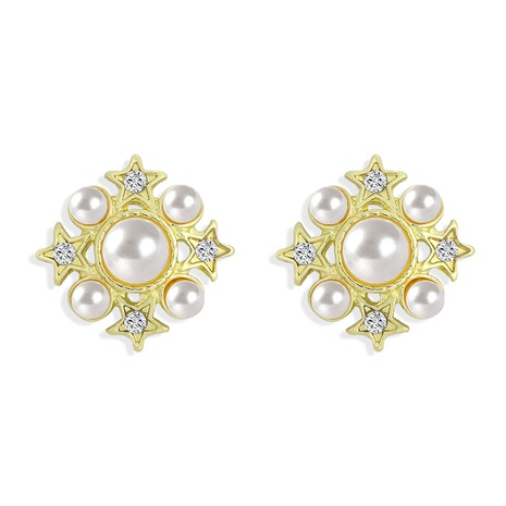 Korean gold inlaid rhinestone five-pointed star earrings NHJQ306067's discount tags
