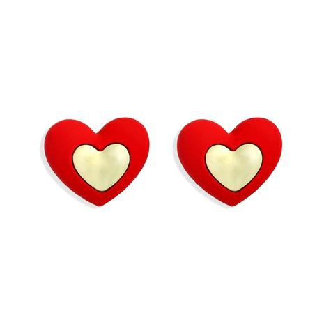 Pendientes de corazón doble de moda creativa dulce coreana NHJQ306072's discount tags