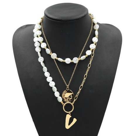 Metal V letter multi-layer pearl necklace NHJQ306120's discount tags