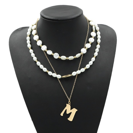 Metal M letter multi-layer necklace NHJQ306121's discount tags
