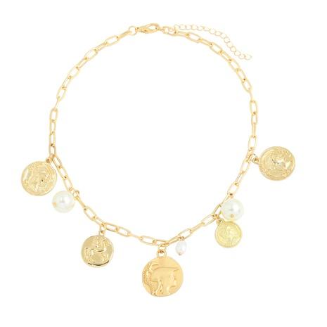 retro Roman gold coin pendant hip hop necklace  NHJQ306124's discount tags