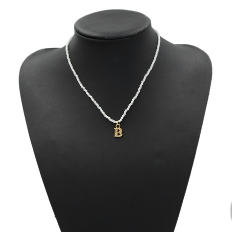 creative letter B metal pendant pearl necklace  NHJQ306125's discount tags