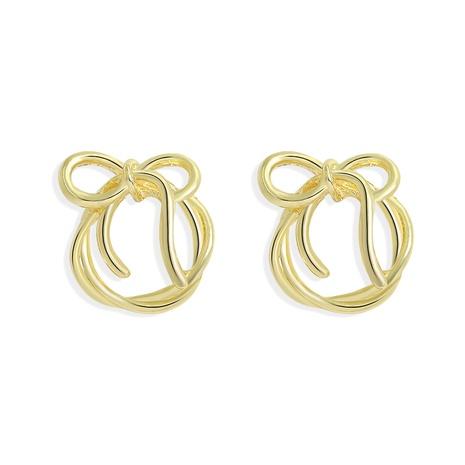 Korean linear braided bow simple earrings  NHJQ306129's discount tags
