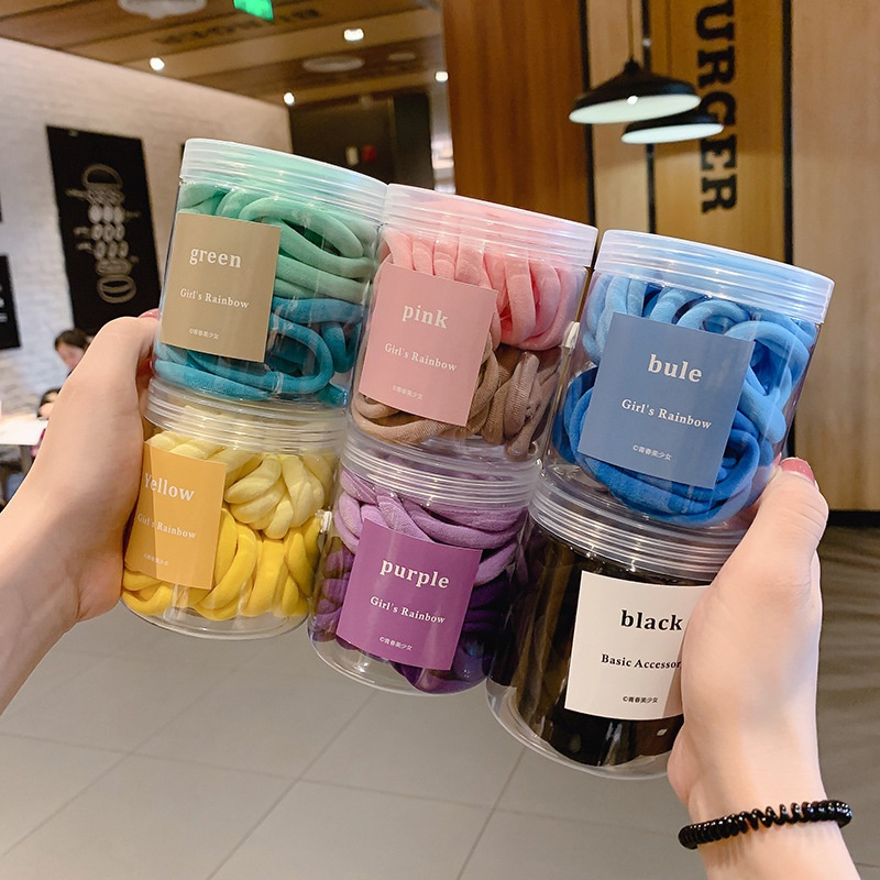 50 pieces elastic gradient color simple hair ring set NHCQ306141
