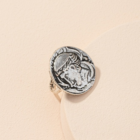 retro coin portrait ring open ring NHAI306293's discount tags