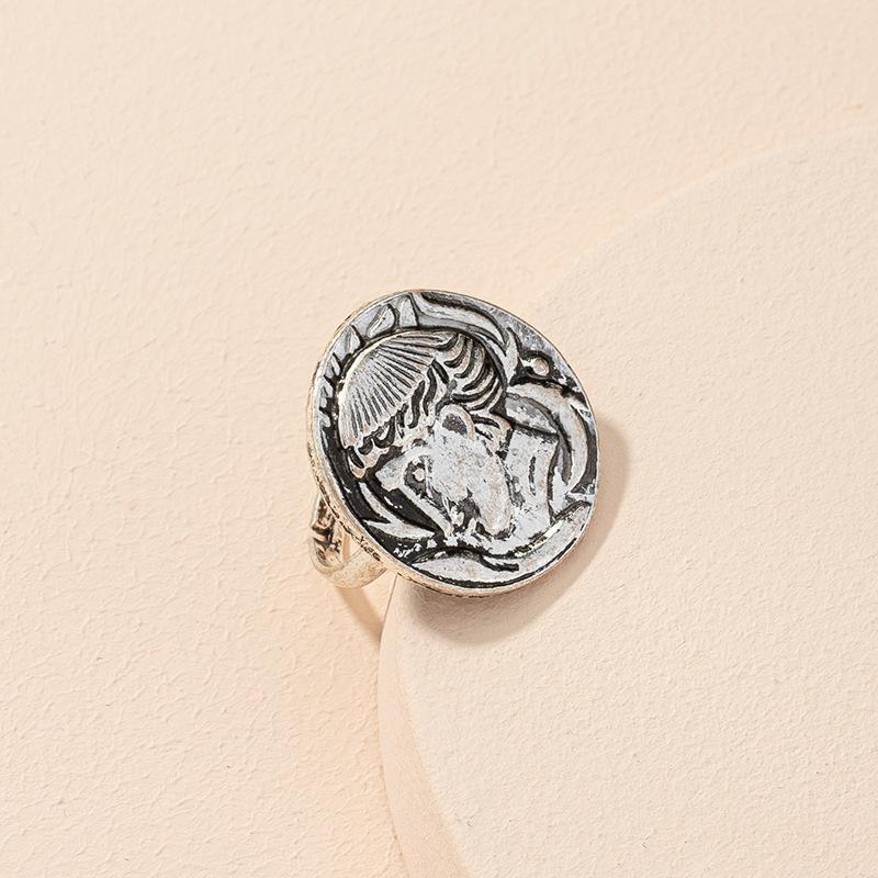 retro coin portrait ring open ring NHAI306293